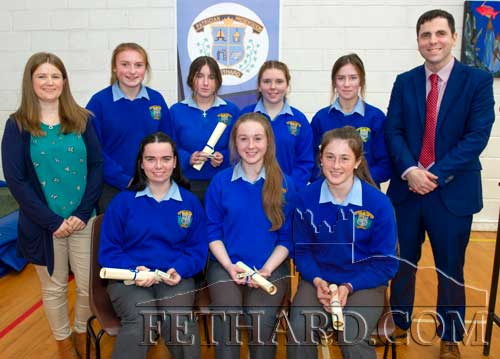 Mentor Badges were presented at the Awards Day to Laura O'Donnell, Lucy Spillane, Megan Hackett, Rachel Prout, Maggie Fitzgerald, Laura Kiely and Andrea Pyke, photographed above with special guest Ms Emma Morrissey and principal Mr Pat Coffey.
