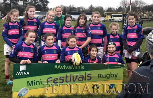 Fethard Girls posing for photograph at the Munster Minis Rugby Festival. Back L to R: Eabha, Aishling, Jamie Ferncombe, Emma, Phillie Gilman, Millie O'Halloran, Alice Sheehan Walsh, Sally Hayes.Front L to R: Caroline, Amy Costin, Zoë Prout, Lily Murphy and Aoife Byrne.