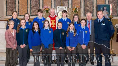 Students from Fethard Patrician Presentation Secondary School who participated in the annual World Day of Remembrance for Road Traffic Victims Mass held at the Augustinian Abbey in Fethard. Also included with the students are Fr. Iggy O'Donovan OSA, Ms Marie Maher (teacher), along with Garda Mary Lonergan, Garda Shane O'Neill and Deputy Mattie McGrath T.D.