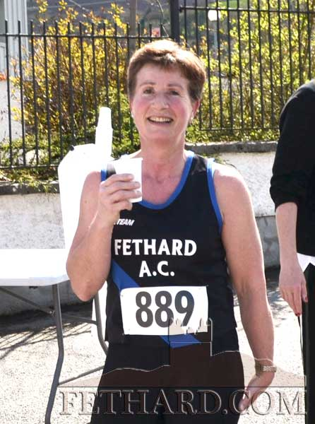 Well done to Ginny Hutton who finished second in her category at the Tipperary Masters Road Championships held in Clonmel on Sunday, April 22. Ginny runs with Fethad Athletic Club.