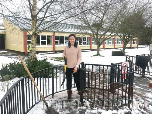 Ms Triona Morrisson, Principal Holy Trinity National School, Fethard, preparing to make pathways safe before re-opening the school