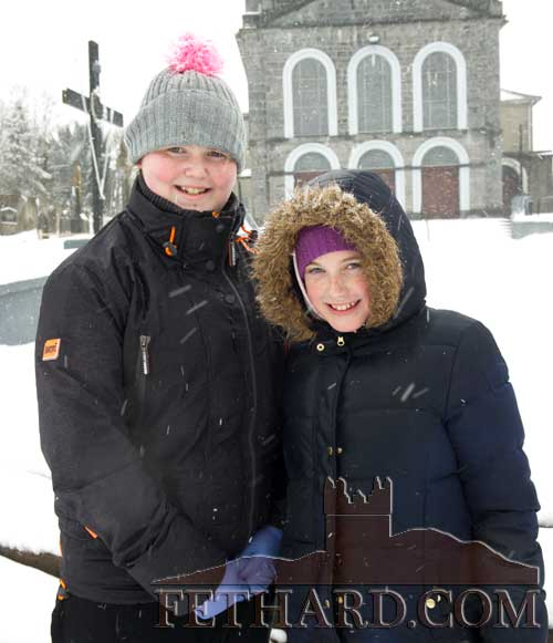 L to R: Sophia O'Brien and Katelyn O'Brien out for a walk in the snow