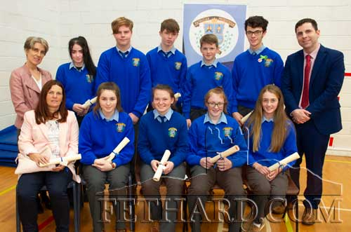 Student Council Certificates were presented to Eabha Ryan and Dara O'Meara (2nd Year); Sadhbh Morrissey and Jack O'Donoghue (3rd Year); Michelle Cronin and Sam Quigley (4th Year): Chloe Nolan and Robert Hackett, accepted by his mother Noreen Hackett (5th Year); Amy Kenny and Aran Larkin (6th Year); photographed above with Ms Marie Maher (back left) who presented the awards and school principal Mr Pat Coffey (back right).
