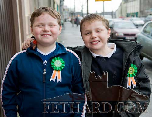 Twins, Tony and Thomas O'Reilly, Barrack Street, Fethard, photographed wearing their St. Patrick's Day badges after the St. Patrick's Day Mass held in Holy Trinity Parish Church Fethard March 15, 2008