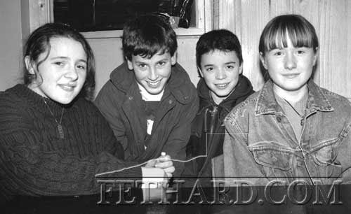Killusty 6th class winners of the Fethard Credit Union Primary Schools Quiz in Fethard Ballroom January 22, 1998. L to R: Dawn Russell, Edward Hickey, Shane Aylward and Claire Ryan.