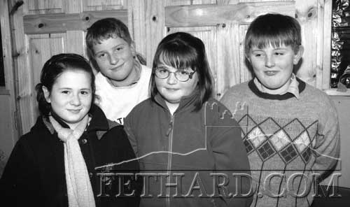 L to R: Patricia Lee, Damien Donovan, Sharon Duggan and John Kearney taking part in the Fethard Credit Union Primary Schools Quiz in Fethard Ballroom, January 22, 1998.