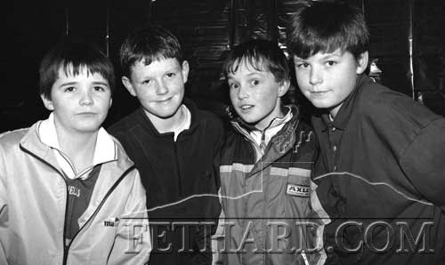 L to R: P.J. Morrissey, Killian Cannon, Christopher Needham and William Doyle, taking part in the Fethard Credit Union Primary Schools Quiz in Fethard Ballroom, January 22, 1998.