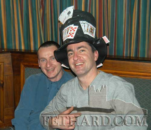Brothers Martin Ryan and John Ryan wearing their 'Christmas Hat Trick' hat at the Christmas Hat Party.