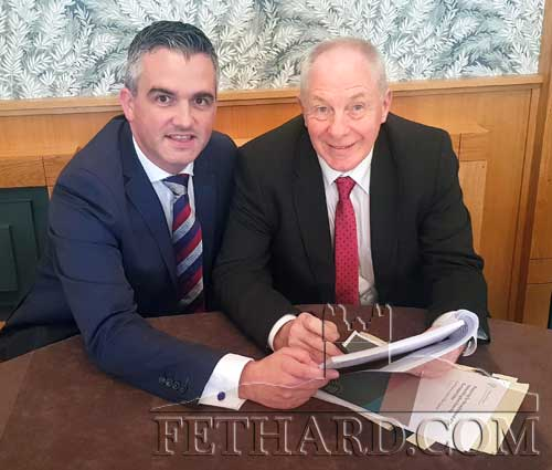 Mayor of Clonmel Cllr Garret Ahearn photographed with Minister Michael Ring discussing the Fethard Application.