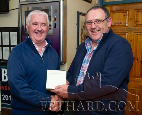 Paul Guinan (left), representing this month's award sponsors Cox's Cash & Carry, Thurles, presenting the 'Mentor of the Month' award to Paul Shanahan, founder member and chairman Fethard Pedallers Cycling Club, who will hold their annual 'Pink Cycle' on Sunday, June 9.