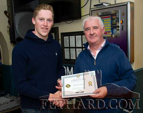 Local jockey Andrew Phelan receiving his nomination certificate from Paul Guinan (right). Andrew had a good winner at Dromahane Point-to-Point when riding 'Blacklough' for local trainer Harry Kelly.