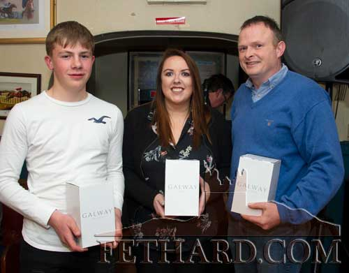 The overall Fethard Sports Achievement Award for March was won by Shane Neville, Robert Wall and Toby Collier – three young Fethard rugby players that helped Rockwell College to Munster Junior Cup success. L to R: Shane Neville, Anne-Marie Butler who accepted the award for Toby Collier, and Anthony Wall who accepted the award on behalf of his son, Robert Wall.