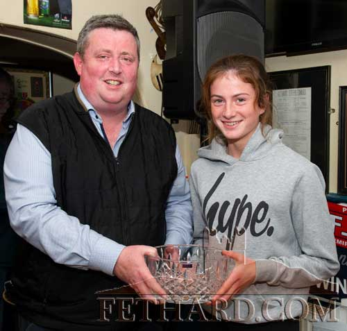 Winner of the Butler's Bar Fethard Sport's Achievement Award for September was Lucy Spillane, Tullamaine, Fethard. Lucy is a member of the Tipperary Intermediate Ladies Football Team that beat Meath and won the 2019 TG4 All-Ireland Intermediate Final on Sunday, September 15. Unfortunately Lucy was attending a Camida (team sponsors) reception for the Tipperary team in Clonmel on the same night as the presentation and her sister Nell was present to accept the September award from this months sponsor Barry O'Connor, representing O'Connor Accountants, Clonmel.