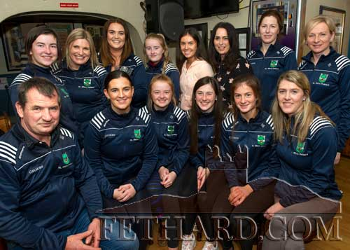 Members of the St. Rita's Junior Camogie Team, winners of the Butler's Bar Fethard Sports Achievement Award for October, photographed with members of coaching team at the presentation. Back L to R: Aine Ryan, Mary O'Mahoney, Edel Fitzgerald, Kate Davey, Leah Coen, Mia Treacy, Imelda Ryan, Sandra Spillane. Front L to R: Michael Ryan, Katie Ryan, Carrie Davey, Lucy Spillane, Nell Spillane and Kay Spillane.