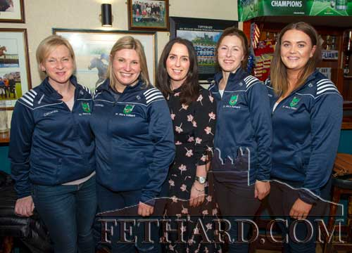 Members of the 1999 St. Rita's Camogie Team that won the County Junior A Camogie Championship and League – the last adult team from the club to achieve county honours – up to this year's success by the St. Rita's Junior B team. L to R: Sandra Spillane, Mary O'Mahoney, Mia Treacy, Imelda Ryan and Edel Fitzgerald.