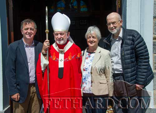 Photographed at the Bicentennial Mass in Holy Trinity Parish Church Fethard are L to R: Paddy Kenrick, Clonmel and formerly Burke Street), Archbishop Kieran O'Reilly, Frances (née Kenrick) Hetterley and David Hetterley. Frances and David travelled over from Hereford, England, for the occasion.