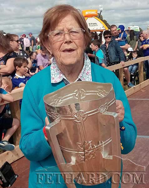 Biddy Kearney (Fitzgerald), St. Patrick's Place, Fethard, delighted to hold the Liam McCarthy Cup again. Biddy is a lifelong supporter of Tipperary Hurling Team.