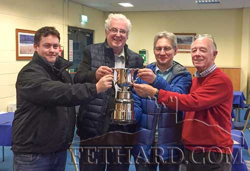 Congratulations to Fethard Bridge Club members Keith Woodlock and Tony Hanrahan, and to Clonmel Bridge Club members Peter Lisiak and Leo Swift who were on the winning team in the 'Tipperary Teams Competition' held at Clonmel Bridge Centre on Sunday, February 17. Photographed above with their trophy L to R: Keith, Tony, Peter and Leo.