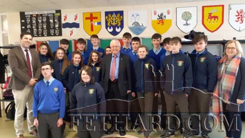 Tipperary Independent TD, Mr Mattie McGrath, photographed with Patrician Presentation Principal, Mr Pat Coffey, CSPE teacher, Ms Caitríona McKeogh, and the school's 3rd Year Pupils. Mr McGrath visited the school to talk to pupils about his Dáil work in conjunction with the 3rd Year CSPE project.