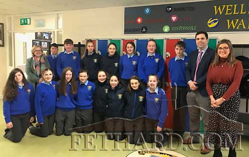 Councillor Máirín McGrath pictured with Ms McKeogh and her Second Year CSPE class and School Principal Mr Pat Coffey.