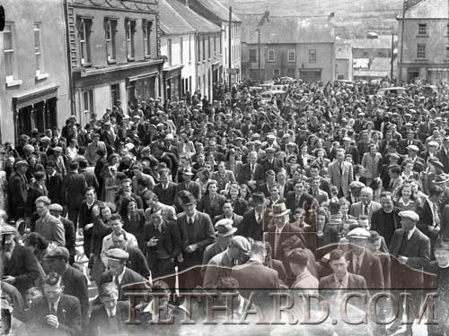Fethard Carnival in the 1940s showing the large crowds arriving by train and making their way to the Barrack Field as they follow the Fancy Dress Parade. This year's Fethard Festival takes place on Sunday, June 16, 2019.