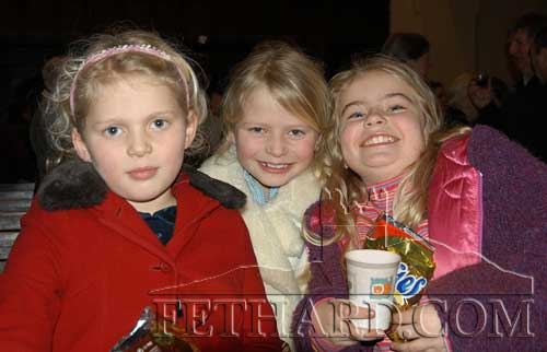 At the Festival of Nine Lessons and Carols held at Holy Trinity Church, Fethard, were L to R: Emma Hatton, Charlotte Hatton and Ciara Tillyer. December 18, 2005.