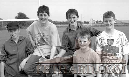 Local Ballingarry boys getting ready to have a game of hurling on June 29, 1993. L to R: Thomas Hayes, Tony Walsh, Noel Webster, Adrian Webster and Liam Cleere.