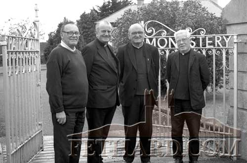 Standing with the Parish Priest outside the Patrician Brothers Monastery in Fethard  on June 30, 1993, are the last Brothers to live there. L to R: Br. Paul (retired), Canon James Power, Br. Raymond, and Br. Ultan (retired).