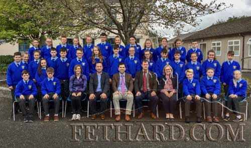 Fethard Patrician Presentation Secondary School's First Year pupils photographed with staff teacher Ms Yvonne Murphy and Mr Justin McGree, Mr Pat Coffey, principal; Mr Billy Walsh, deputy principal and Ms Caitríona McKeogh, year head.