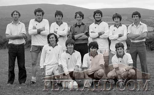 Ballylooby seven-a-side soccer team who beat Printers 2-1 in the final of the Killusty seven-a-side Soccer Tournament. Ballylooby Team: Pat O'Brien, Mick O'Brien, Pat O'Brien, Tommy Fitzgerald, P. J. Moloney, Dick Doyle, Pat Phelan (capt), Eamon Condon and Eamon Gleeson.
