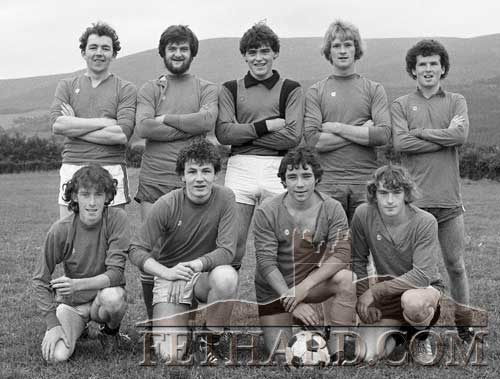 Printers soccer team: Martin Quinlivan, Pat Barry, Larry Fahy, Billy Byrne, Eddie Anderson, Jeddy Walsh, Ernie Maken (capt) and John Hunt photographed at the Killusty Seven-a-side Soccer Tournament Final, August 1982.