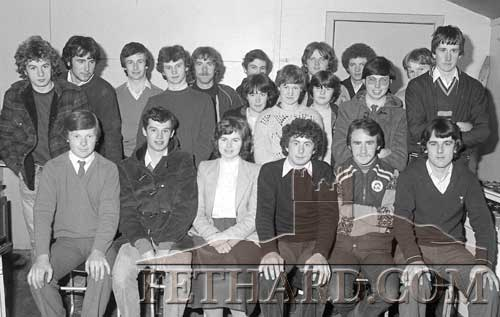 Group of Moyglass Macra members photographed at meeting in Moyglass Hall in November 1982.