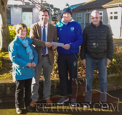 GAA Club Chairman P.J. Aherne presenting a €1,000 Scholarship to Patrician Presentation Secondary School Principal, Pat Coffey, on behalf of Fethard GAA Club. Also in the picture are Mary Godfrey and Stephen Fitzgerald.