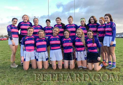 Fethard U18s Girls rugby team who reached the Munster League Semifinal. Back L to R: Kate Gayson Molloy, Anna Kennedy, Tilly Magnier, Lucy Murphy, Eabha Fitzgerald, Orla O'Donnell, Gabrielle Spicer, Hannah McCabe, Nicole Vaughan, Therese Ryan. Front L to R: Jen Fogarty, Faye Dowling, Mia Cooney, Leah Coen, Annica O'Connor and Alison Connolly. Missing from photograph are Karen Bennett and Aoibhe Gayson Molloy. All these girls showed great tenacity playing together.