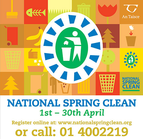 Registration is now open for this year's National Spring Clean which will take place during the month of April all over the country. Taking part in the National Spring Clean is very straight forward. Local groups are invited to organise a clean-up around the Fethard area, to take place any time during April. You can register your event online, or by Tel: 01 400 2219.   To register online log on to www.nationalspringclean.org Once you have registered you will receive a FREE clean-up kit from An Taisce.  Throughout the month of April, The National Spring Clean will bring together communities throughout the country to tackle the problem of litter in local areas. This initiative is organised by An Taisce and supported by the Department of Communications, Climate Action and Environment.
