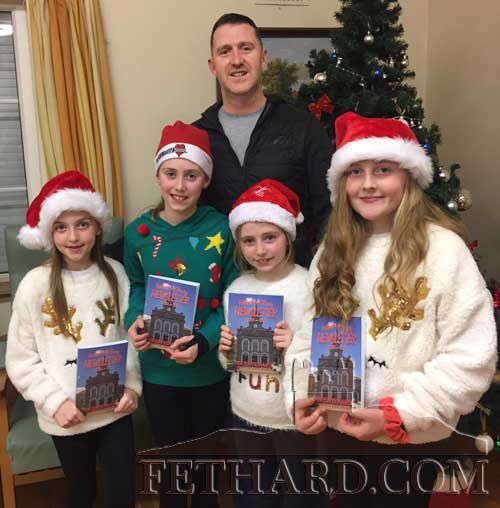 Shane Kenny with his band of helpers ready to help pack and post this year's Emigrant's Newsletter. L to R: Keavy Condon, Ria Kenny , Holly Kenny and Romy Condon.