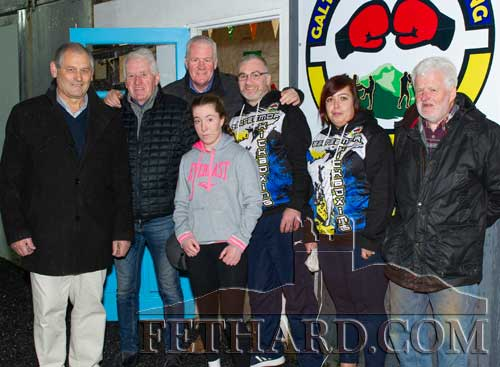Photographed at the Official Opening of new Galteemor Kickboxing Premises in Barrack Street, Fethard are L to R: Peter Grant, Don O'Connell (owner), Conor McGuire (Coolmore), Daniel Coffey and his wife Georgina, Declan Nevin. In front is national champion Caia Crowley from the Fethard Club who cut the tape on Thursday, December 12, to officially open the new premises