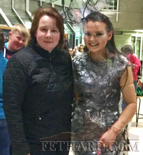 Patrician Presentation pupil, Michelle Cronin (right) wearing her Junk Kouture outfit, 'EleMental', photographed with her mother Helen Cronin at the regional final in Limerick.