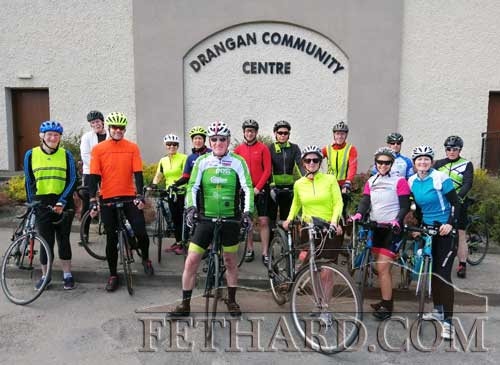 Fethard Pedallers Cycling Club stopping outside Drangan Community Centre on their Sunday morning training session for the forthcoming 'Pink Cycle' fundraiser on Sunday, June 9.