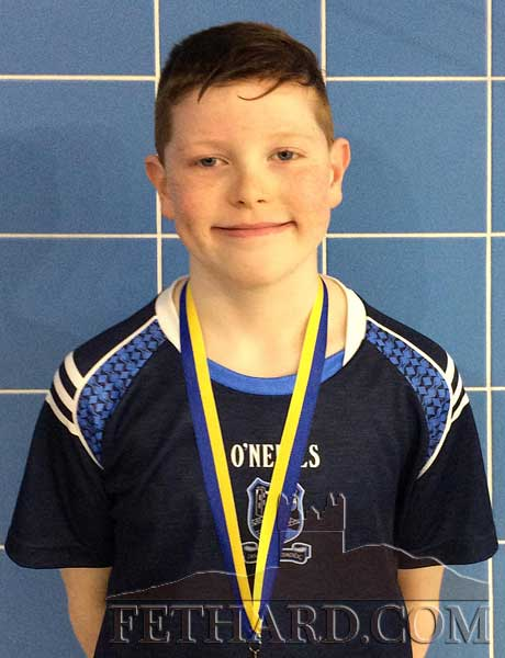 Ronan O'Meara, Red City, Fethard, who won a gold medal in the Under 10 Freestyle  County Swimming Final and will now represent Tipperary at the National Finals in UL in May.