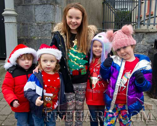 Waiting patiently for Santa to arrive in Fethard on Friday, December 6, are L to R: Tommy Maunsell, Mason Doyle, Saoirse Maunsell, Caoimhe Maunsell and Layla Doyle.