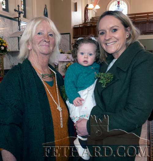 Photographed at St. Patrick's Day Mass in Holy Trinity Parish Church, Fethard, are L to R: three generations of the Gilpin family from Fethard, Marian Gilpin, her granddaughter baby Elle and daughter Jodie Gilpin.