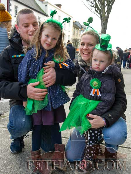 At the St. Patrick's Parade in Clonmel were L to R: Joe Keane, formerly from Fethard, with his partner Johana and children Tilda and Louise.