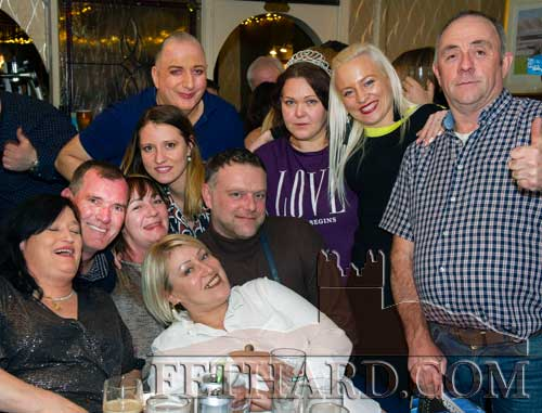 John Carroll, Lonergan's Bar, Fethard, photographed with friends from Mother Hubbards in Cashel, who came along to support the 'Horney Thorney Rose' fundraiser in memory of the late Angela Walsh and in aid of South Tipperary Hospice.