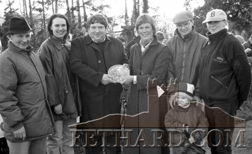 Clonmel Races - Morris Oil Steeplechase winner presentationof trophy to Patsy O'Keane winning owner of 'Royal Mountbrowne', who was ridden by Charlie Swan in the Morris Oil Steeplechase of £20,000 at Clonmel Races on November 7, 1996. L to R: Joseph Crowley, Ann-Marie O'Brien, Patsy O'Keane, Isobel Morris (Morris Oil), Aidan O'Brien (trainer) and his son Joseph in front, and Frances Crowley.