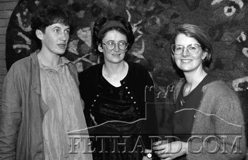 Opening of Dóirín Saurus Exhibition 'Thrilling Tables & Fabulous Felts' (9/11/96)Pictured above at the opening of Dóirín Saurus's exhibition 'Thrilling Tables & Fabulous Felts' in Clonmel Library on November 9, 1996 are L to R: Dóirín Saurus, Úna Ní Shé and Theresia Guschlbauer, who officially opened the exhibition.