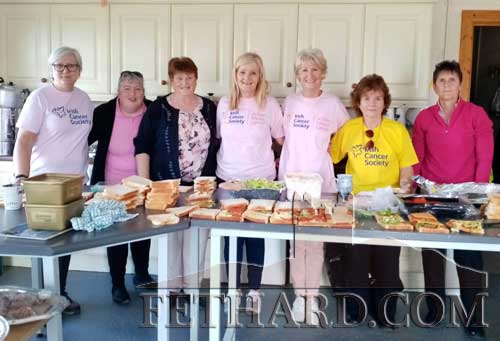 Members of Fethard & District Day Care Centre helping with the catering at Fethard Rugby Club after last Sunday's 'Pink Cycle'. L to R: Mollie Standbridge, Geraldine Cahill, Hanna McGarry, Geraldine McCarthy, Fionnuala O'Sullivan, Marie Murphy and Bobbi Holohan.