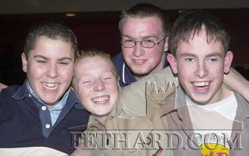Photographed at Fethard Youth Club's New Year's Party held in Fethard Ballroom on Saturday, January 12, 2002 are L to R: Salem Farag, Chris Whyte, Ciarán Duggan and Russell O'Meara.