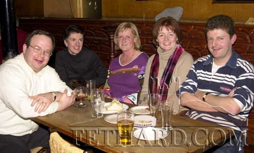 McCarthys Bar, February 26, 2001. L to R: Pat McDonnell, Marie Holohan, Marjorie Ahearne, Mary Hanrahan and Jimmy O'Sullivan.
