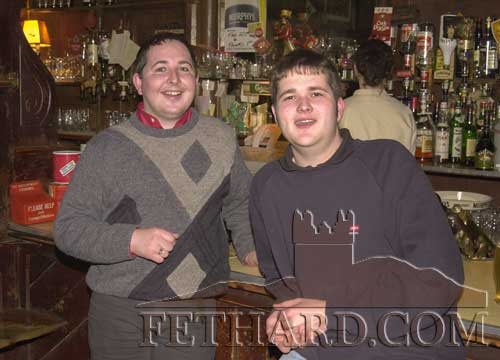 McCarthys Bar, Fethard, February 26, 2001. L to R: Noel Morrissey and Eoin Whyte